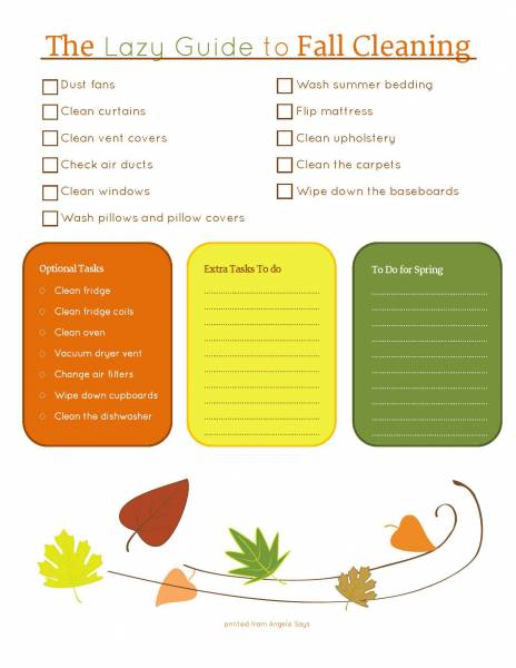 fall cleaning printable