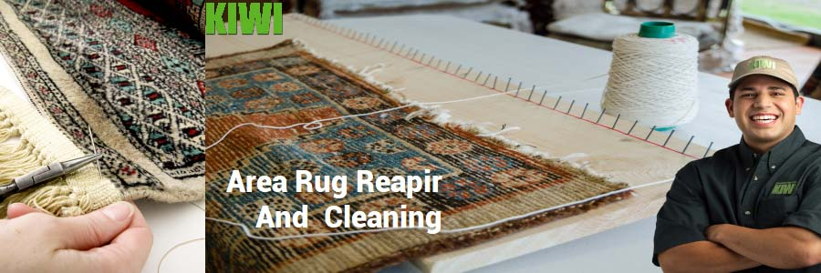 Area rug being repaired
