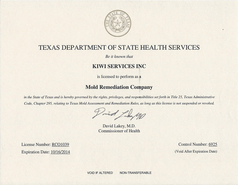 Mold Remediation License For Texas Kiwi Cleaning Services