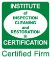 Certified by The Institute Of Inspection, Cleaning And Restoration