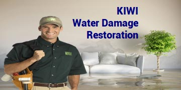 Water damage restoration of flooded room
